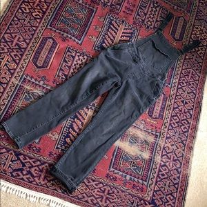 Washed black fitted overalls with straight leg